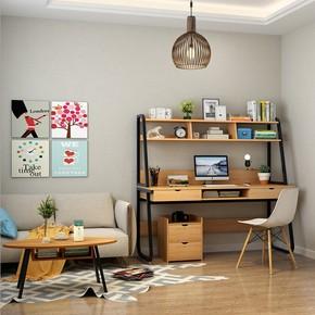 电脑时尚一体桌台式办公桌梳妆台家用书桌带书架组合简易多功能桌