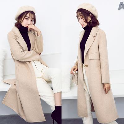 高端纯羊绒赫本风毛呢外套2018新款流行中长款双面呢呢子大衣女冬