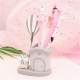 Student resin craft cute pen holder creative cartoon storage seat creative student desktop pen with small clip