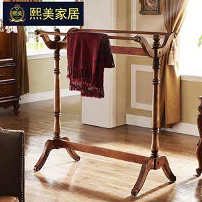 美式乡村实木衣帽架门厅落地挂衣架衣服架子卧室多功能晾衣架现货