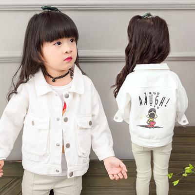 女童外套春秋2018新款潮男宝宝洋气韩版短款薄儿童装白色牛仔上衣