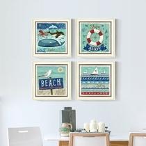 美式乡村地中海风格挂画男孩书房海洋装饰画儿童房卧室床头壁画