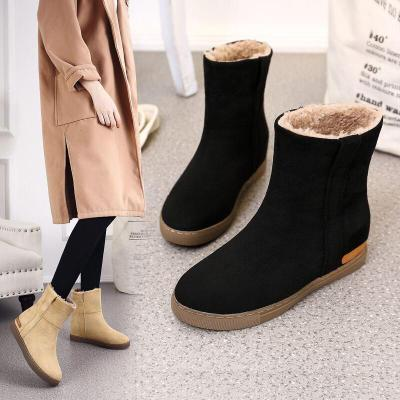 厚底雪地靴女毛毛鞋绒面棉鞋子超保暖羊羔毛冬季防滑靴子