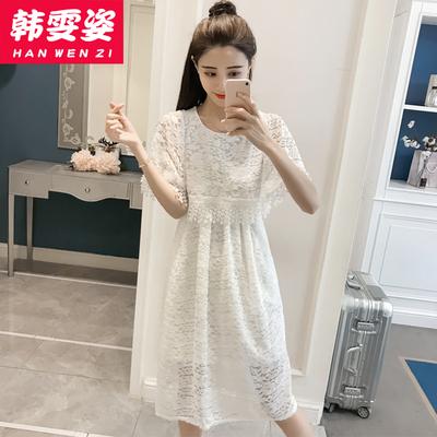 学院风夏装新款少女时尚短袖蕾丝连衣裙高中学生韩版收腰显瘦长裙