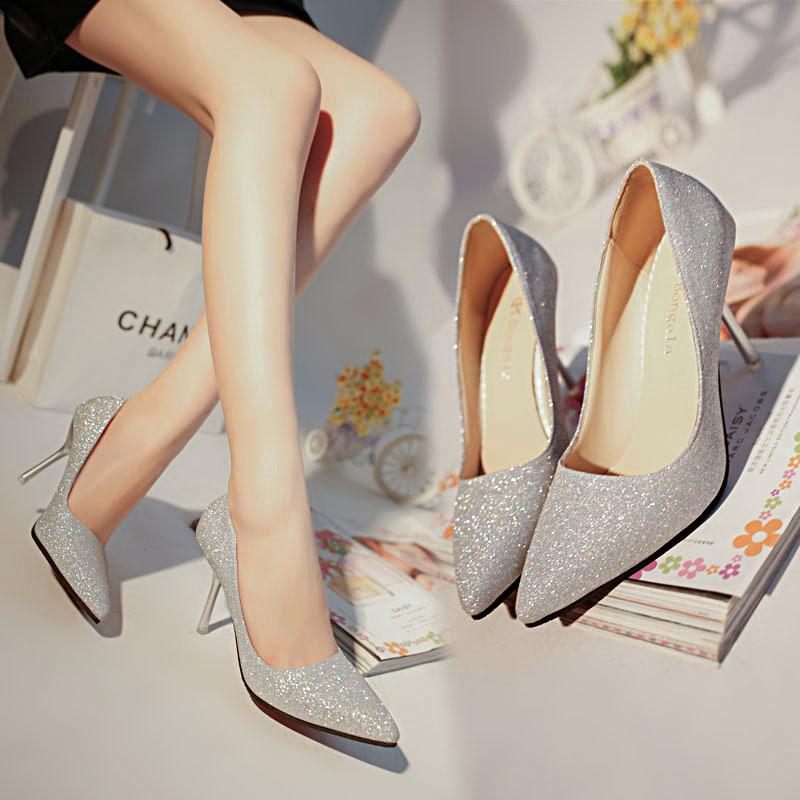 婚礼银色渐变高跟鞋亮片尖头婚.