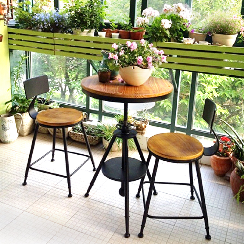 实木户外露台桌椅