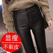低腰长裤 紧身打底裤 外穿弹力女士光泽仿皮裤 薄款 2018夏季新款 韩版图片