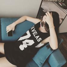 背心裙休闲运动篮球宝贝棒球服连衣裙女C 韩国原宿风印花字母无袖