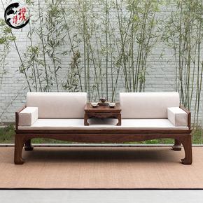 璞语新中式禅意罗汉床老榆木实木罗汉榻黑胡桃木简约沙发仿古家具