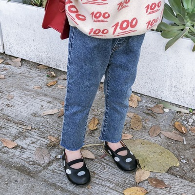 蓝小爸童装女童裤子2019新款洋气春秋装儿童牛仔裤宝宝韩版休闲裤