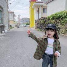 2019秋季新款 格子衬衣韩版 洋气宝宝上衣外套 蓝小爸男女童长袖 衬衫图片