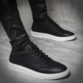 黑色板鞋男秋季韩版休闲内增高学生百搭青年鞋子男英伦系带潮男鞋