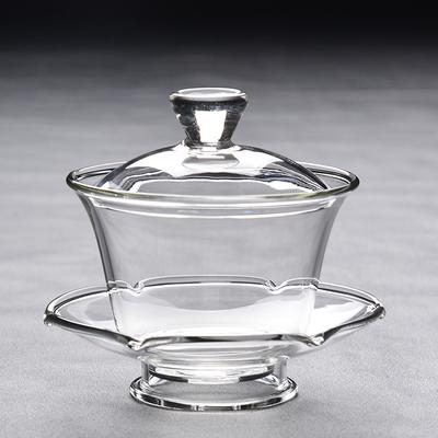 陶生活 出口日本加厚耐热 手工玻璃盖碗 泡茶碗 绿茶盖杯三才盖碗
