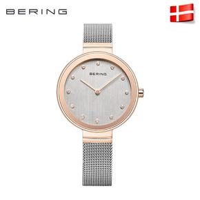 Bering白令进口女士手表镶钻石英表简约时尚休闲腕表钢带12034
