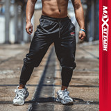 MAXATTACK breathable fast-drying exercise gym pants men's simple elastic running slim short foot training pants