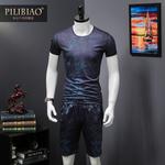 歐洲站男裝夏季新修身數碼3D時尚印花男士短袖短褲兩件套運動套裝