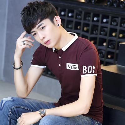 夏季新款男士polo半袖衫 纯棉修身罗纹反领 青少年潮流短袖T恤