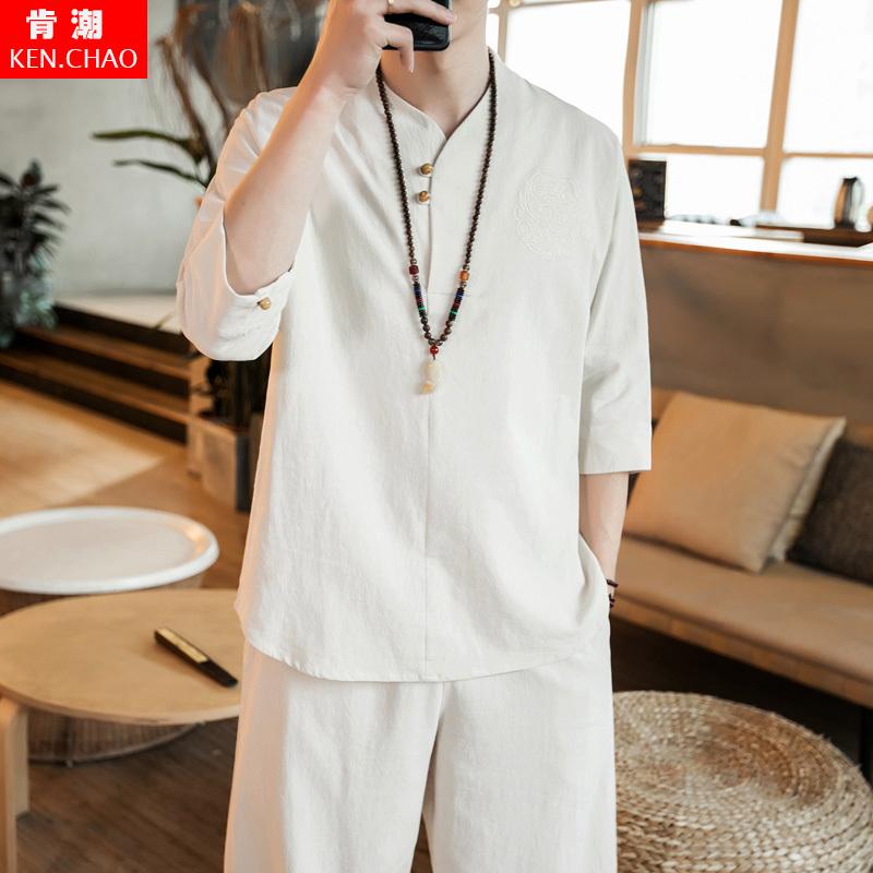 中国风青年套装男装亚麻民族服装改良茶服古风男汉服唐装棉麻僧服