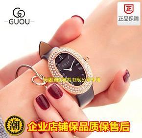 出口guou古欧水钻女士手表时尚椭圆皮带手表气质罗马刻度石英手表