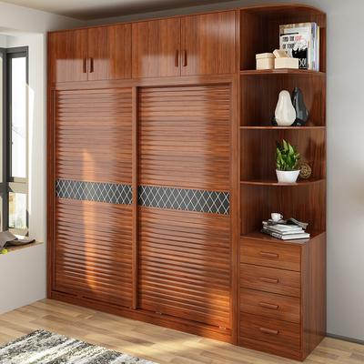 板式衣柜推拉门 现代简约滑门移门衣橱整体卧室2门实木质柜子定制