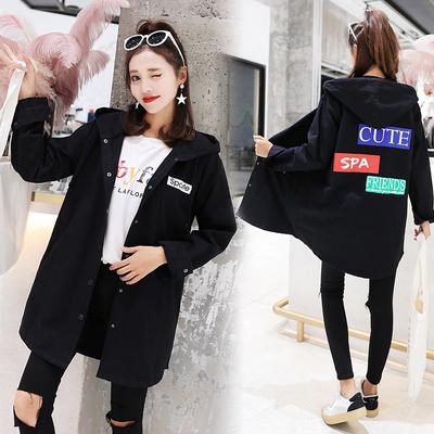 中长款连帽外套女春秋韩版学生bf百搭学院风衣宽松长袖外衣服冬季