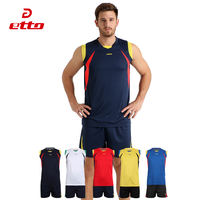Etto British way volleyball clothing suit men's competition training sleeveless gas volleyball team uniforms women's custom jersey