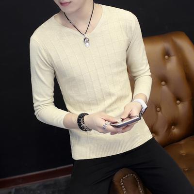 春秋季男士长袖T恤韩版修身V领针织打底薄款小衫潮秋衣保暖毛衣服