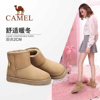 骆驼女鞋 2018冬季新品 加绒棉鞋纯色简约短筒靴保暖平底雪地靴女