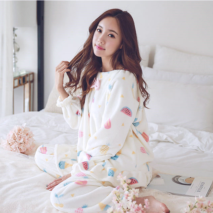 韩版珊瑚绒加厚睡衣两件套1元优惠券