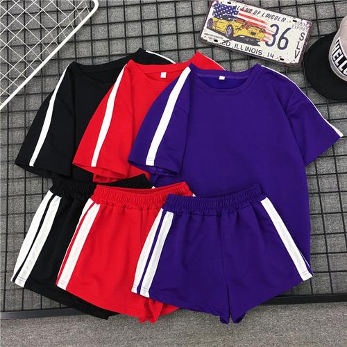 2018夏季新款韩版潮时尚短袖短裤运动服套装女宽松休闲阔腿两件套