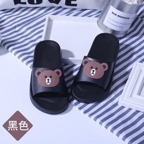 韩版黑色情侣浴室拖鞋按摩防滑软底洗澡男女家居室内软底凉拖厚底