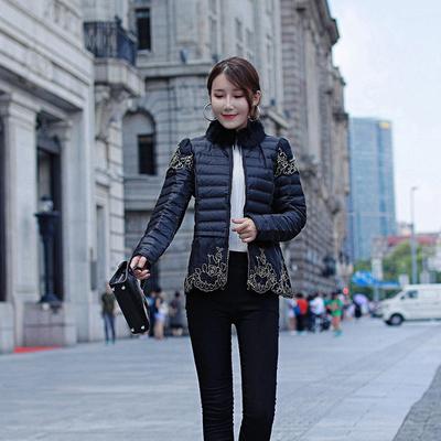 中年妈妈羽绒服短款轻薄毛领修身拉链网纱纯色短外套女