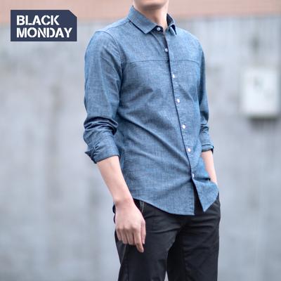 BM纯棉青年布牛仔风衬衫男士长袖青少年衬衣秋冬休闲学生修身寸衫