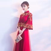 现代红色旗袍中式晚礼服女显瘦结婚衣服中国风 敬酒服新娘2019春款