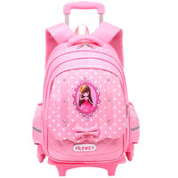 Cool prince children's trolley bag 3-5-6 grade girls 6-12 years old schoolbags three-wheeled haul