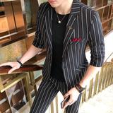 夏季潮男薄款中袖小西装套装七分袖西服夜店发型师新郎短袖两件套