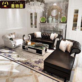 简约后现代真皮沙发奢华欧式大小户型整装黑白新古典简欧客厅组合