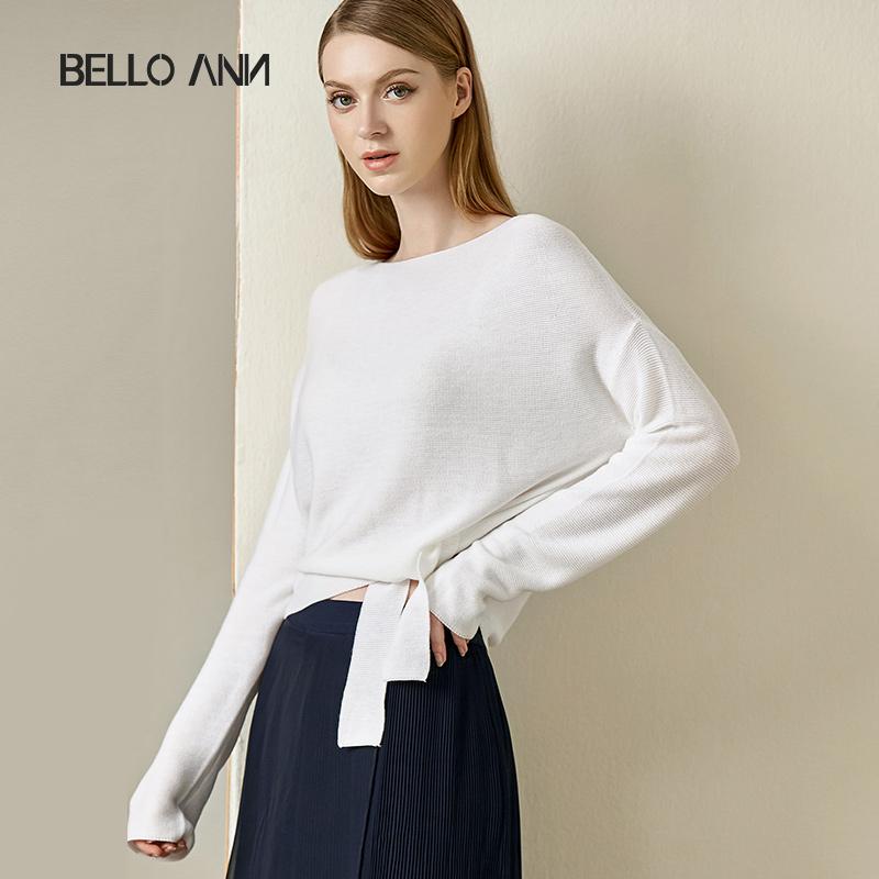 贝洛安2019新款秋装OL通勤白色系带宽松蝙蝠袖一字领长袖针织衫女