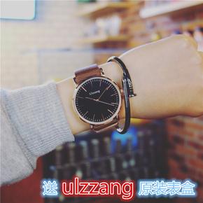 新款ulzzang时尚简约黑面石英表男帆布黑盘女学生超薄情侣手表