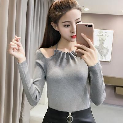 纯色针织衫女长袖挂脖上衣秋季套头打底衫短款外搭修身薄款毛衣潮