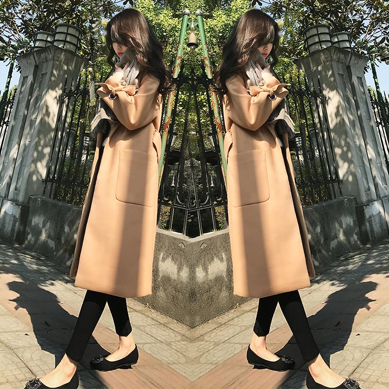 驼色呢子大衣女2017新款女装韩版中长款过膝毛呢外套女加厚冬季潮