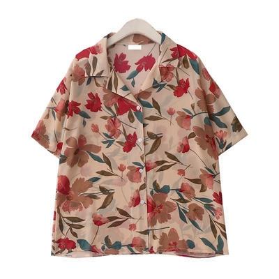 复古花朵印花度假衬衣夏季新款韩版西装领短袖碎花雪纺衬衫上衣女