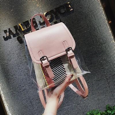 透明包包女2018新款双肩包韩版潮透明校园学生背包果冻女包旅行包