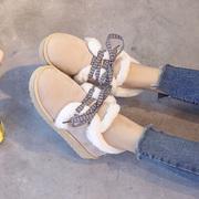 低帮短筒翻毛面包鞋雪地靴女冬2018系带防滑学生雪地鞋加棉鞋保暖
