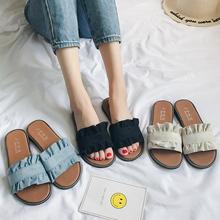 拖鞋女夏时尚外穿2019新款韩版百搭防滑凉拖学生沙滩鞋平底一字拖