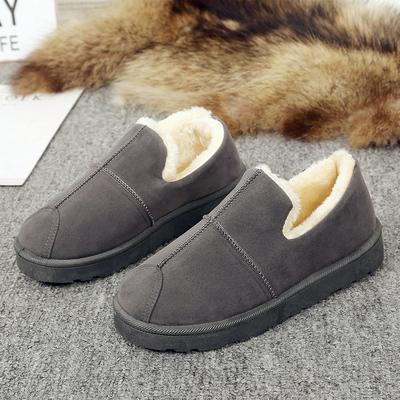 冬季雪地靴女短筒靴懒人平底短靴女冬加绒保暖棉鞋加厚学生面包鞋