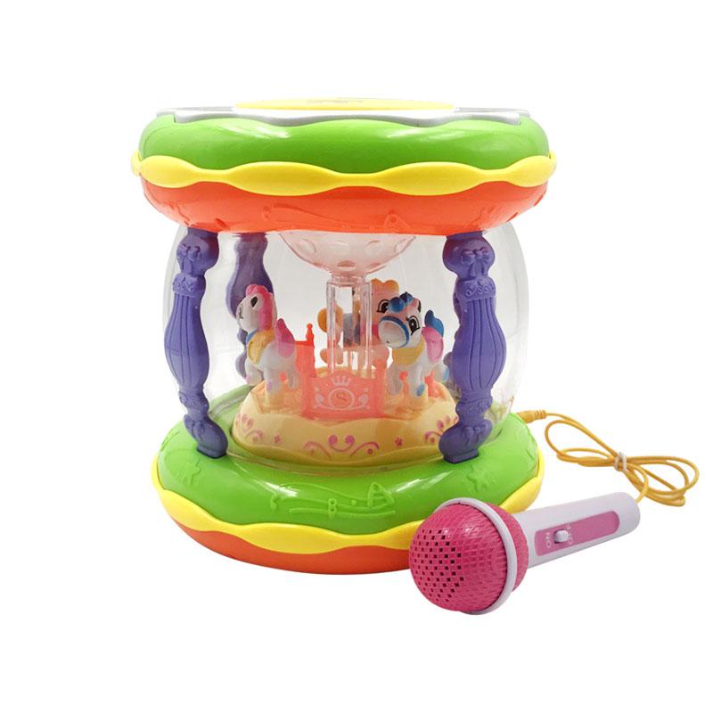 宝宝手拍鼓儿童音乐拍拍鼓可充电旋转木马婴儿益智男女孩玩具大号