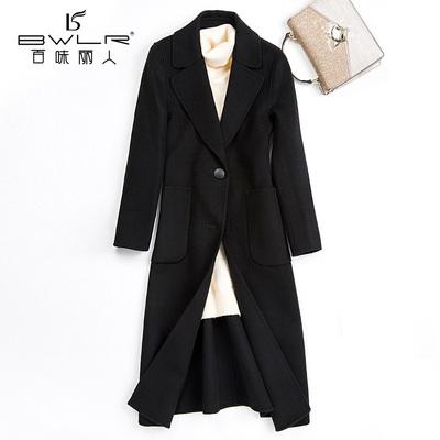 百味丽人2018秋冬新款长款修身双面呢大衣女羊毛毛呢外套Y8817