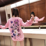 Hong Kong Tide brand 2019 autumn and winter star model fawn flower guard woman pink big size loose cotton ins guard clothes