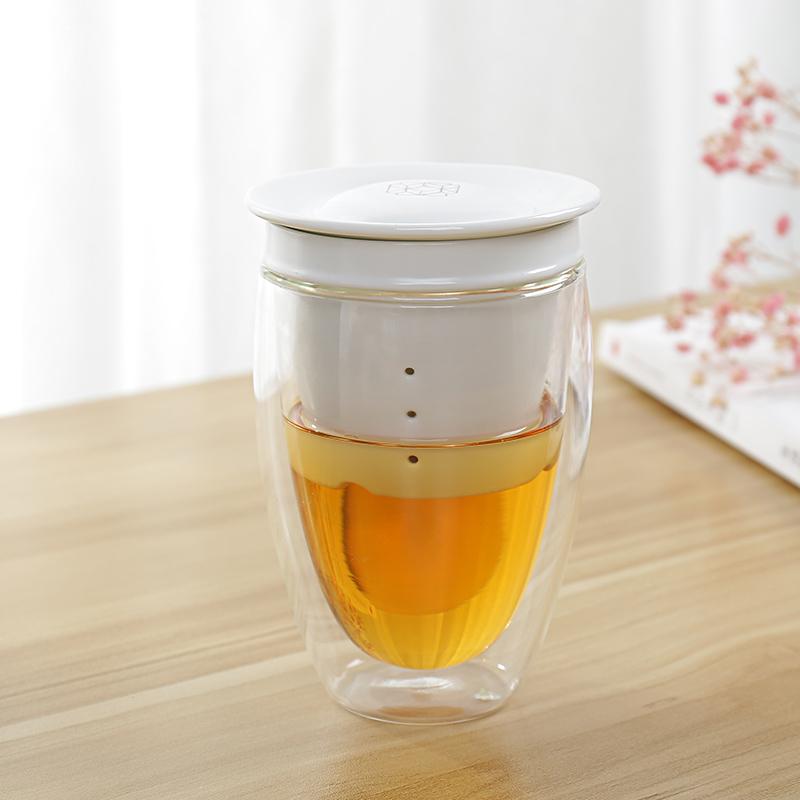 百里唐  耐热玻璃泡茶杯 陶瓷内胆过滤 双层快客杯带盖办公个人杯